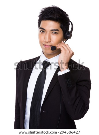 Customer services operator holding with microphone