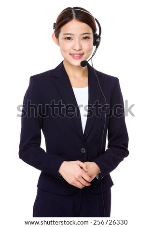 Customer services representative with headset - stock photo