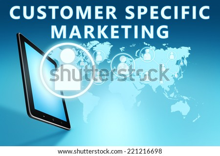 Customer Specific Marketing illustration with tablet computer on blue background