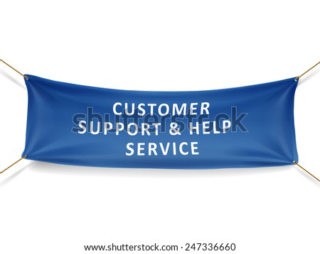 customer support and help service banner isolated over white background - stock photo