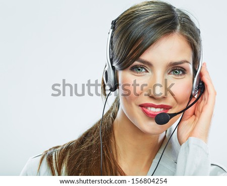 Customer support operator close up portrait.  call center smiling operator with phone headset. - stock photo