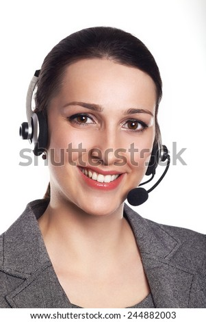 Customer support operator. Woman face.Call center smiling operator with phone headset on white background.Attractive young people working in a call center.