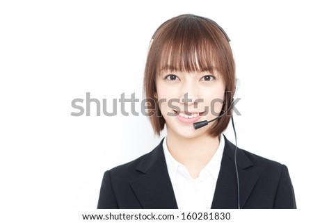 customer support operator woman with headset, isolated on white background - stock photo