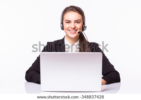 Customer support operator working in a call center office - stock photo