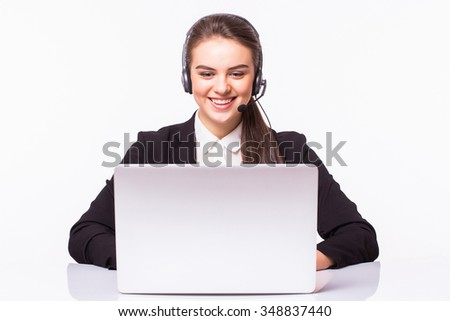 Customer support operator working in a call center office