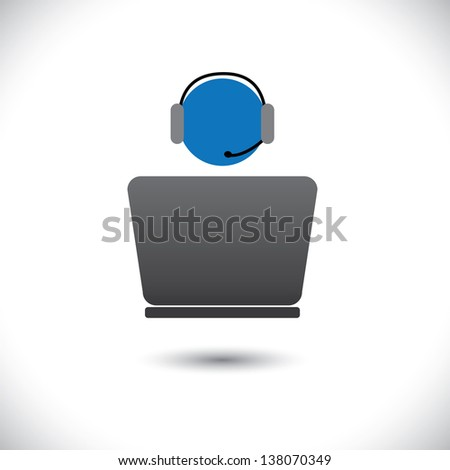 Customer support or front office worker & laptop-  graphic. The illustration shows an employee icon with headphone and laptop with space for business text and business slogan