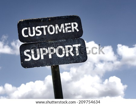 Customer Support sign with clouds and sky background - stock photo