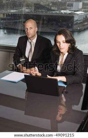 Customer talk at a nice table - stock photo