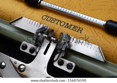 Customer text on typewriter - stock photo