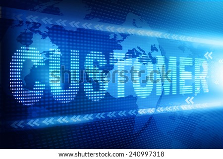 Customer text over abstract blue  background - stock photo