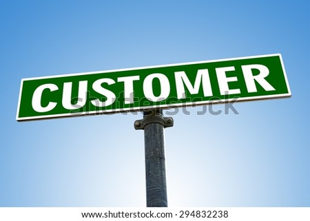 CUSTOMER word on green road sign - stock photo