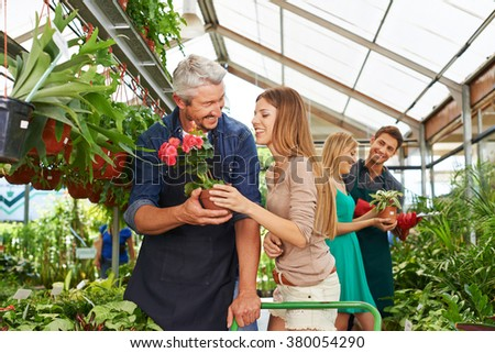Customers and employees talking in a nursery shop together - stock photo