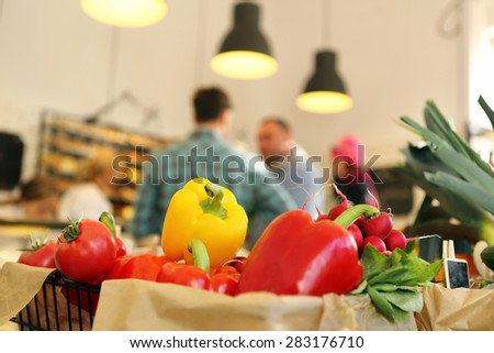 Customers at the grocery store - stock photo