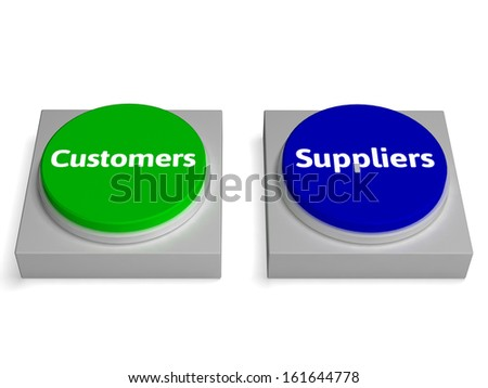 Customers Suppliers Buttons Showing Consumers Or Supplying - stock photo