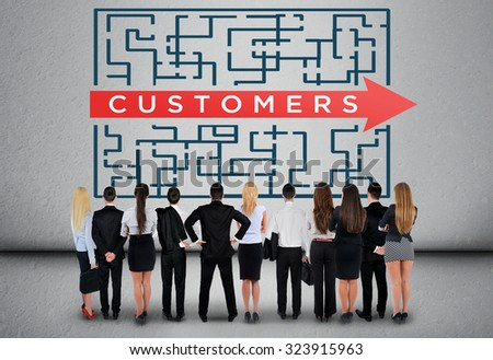 Customers word maze and business team thinking solution