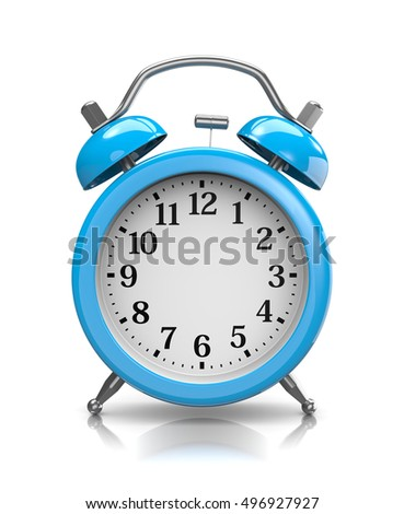 Customizable Blue Classic Alarm Clock on White Background 3D Illustration