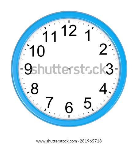 Customizable Blue Round Wall Clock Isolated on White Background 3D Illustration
