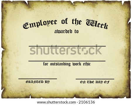 Customizable Employee of the Week Certificate - stock photo