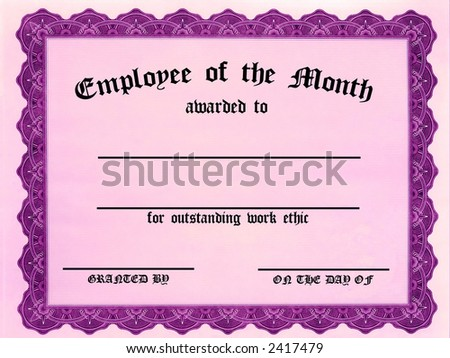 Customizable Employee on the month certificate