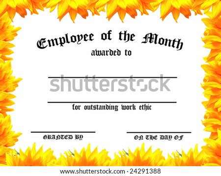 Customizable Employee on the Month certificate with sunflower frame - stock photo