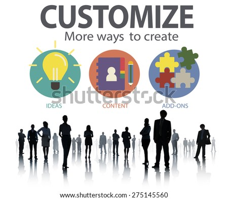 Customize Ideas Identity Individuality Innovation Personalize Concept - stock photo