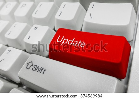Customized concept with computer enter button on keyboard : Update - stock photo