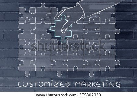 Customized Marketing: metaphor of hand completing a puzzle