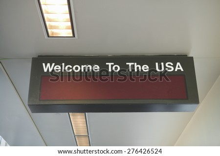 Customs area of an international airport, United States