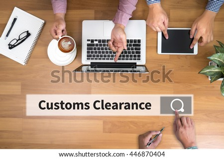 Customs Clearance man touch bar search and Two Businessman working at office desk and using a digital touch screen tablet and use computer, top view - stock photo