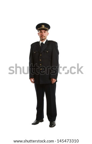 Customs officer on white background - stock photo