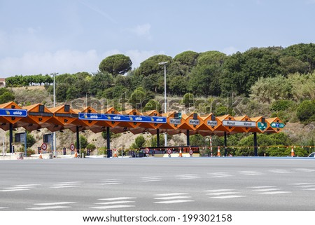 Customs toll road in Catalan Spain - stock photo