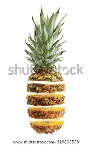 cut ananas isolated on white background - stock photo