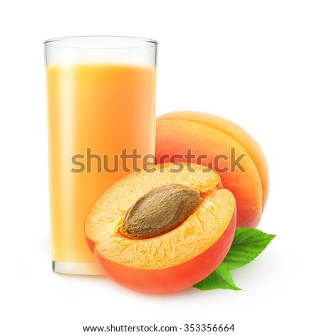 Cut apricot fruits and glass of juice isolated on white background with clipping path - stock photo