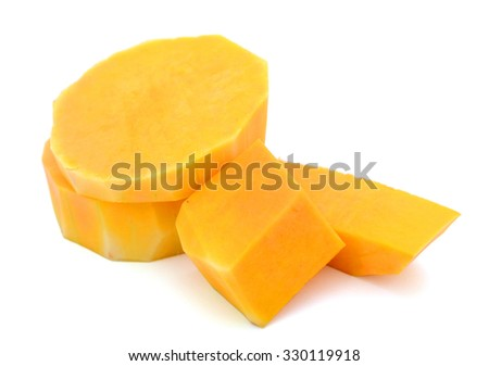 cut butternut squash isolated on white  - stock photo