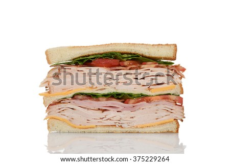 cut chicken club sandwich - stock photo