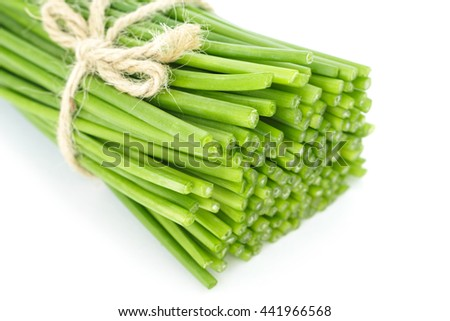 cut chinese chive flowering onions stalk vegetable food nature background - stock photo