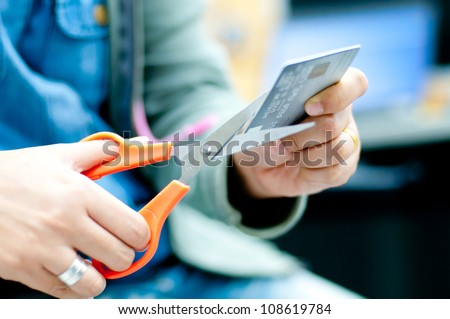 cut credit card - stock photo