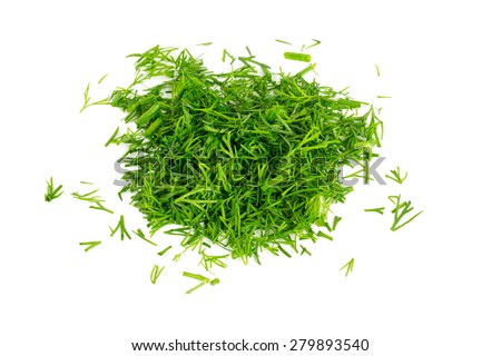 cut dill isolated on white background - stock photo