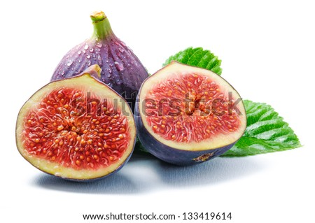 Cut fig. Isolated on white - stock photo