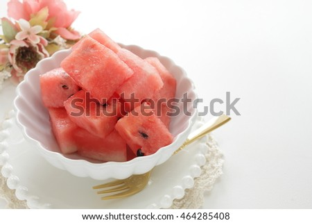 cut fruit, watermelon for summer food image