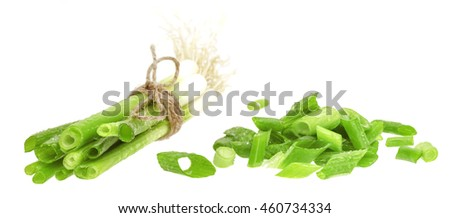 Cut green onion isolated on the white background. Chives. - stock photo