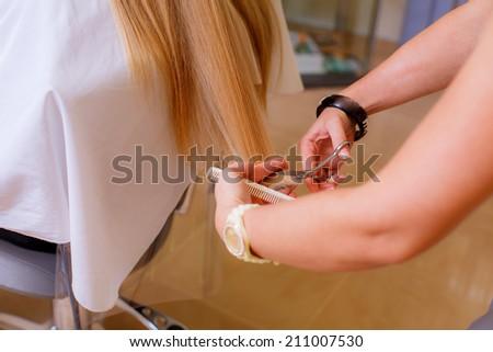 cut hair. woman in a beauty salon has cut hair - stock photo
