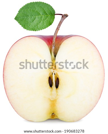 cut half an Apple with a green leaf isolated on white - stock photo