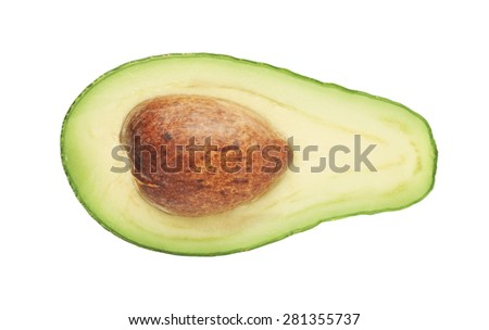Cut in half open ripe avocado fruit with the pit, isolated over the white background