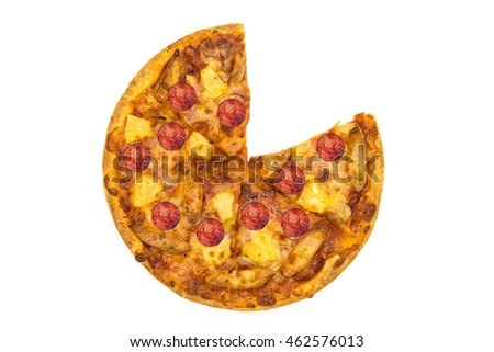 Cut into slices delicious fresh pizza on white background