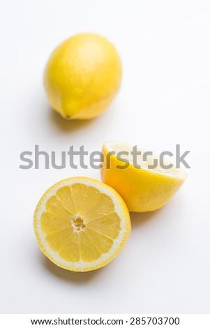 Cut lemon - isolated - stock photo