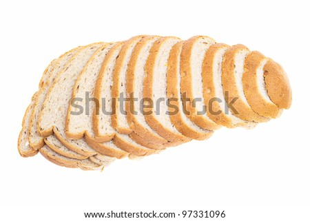 Cut loaf of bread isolated on white