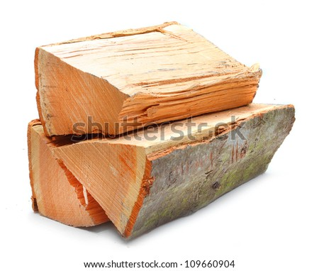Cut log fire wood from Oak tree. Renewable resource of a energy. Environmental concept. - stock photo