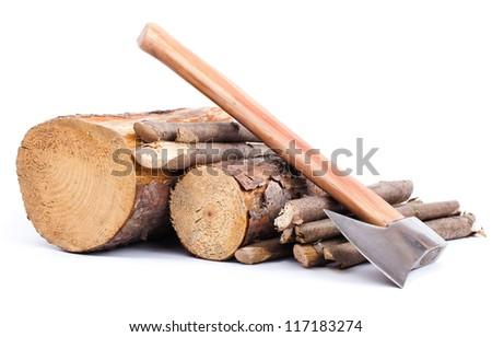 Cut logs  and  axe. Renewable  energy. - stock photo