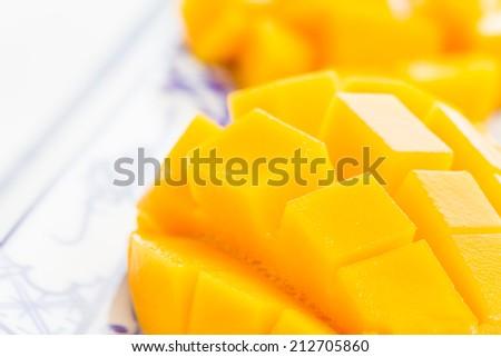 Cut mango closeup - stock photo